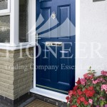 Blue uPVC door angled view