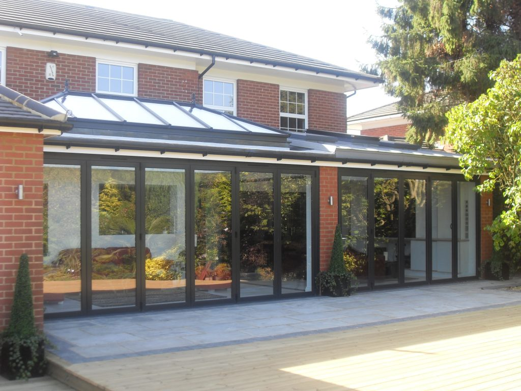 Lantern roof above an installation of bifolding doors.